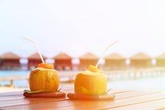 2 питья кокоса на роскошном тропическом курорте Стоковые Изображения RF
