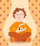 пить кофе мальчика бесплатная иллюстрация