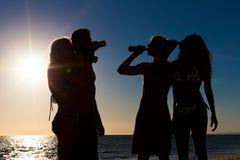 пить пляжа имея людей партии Стоковое Изображение RF