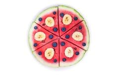 Пицца арбуза на белизне Стоковая Фотография RF