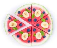 Пицца арбуза на белизне Стоковая Фотография