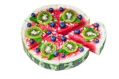 Пицца арбуза на белизне Стоковое Изображение RF