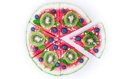 Пицца арбуза на белизне Стоковые Фотографии RF