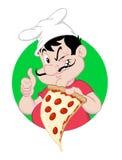 Пицца Гай держа кусок Иллюстрация вектора