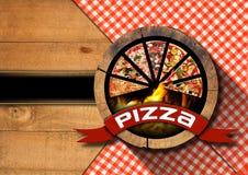 Пицца - деревенский дизайн меню Стоковое фото RF