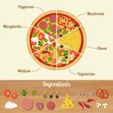пицца ингридиентов поля глубины отмелая Стоковое Фото
