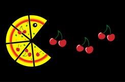 Пицца и вишня на черной предпосылке Стоковое Фото