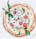 Пицца иллюстрации акварели с сыром иллюстрация вектора