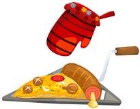 пицца кухни перчатки иллюстрация вектора