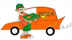 пицца мальчика Стоковое Изображение RF