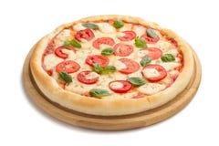 Пицца Маргариты изолированная на белизне Стоковое Изображение