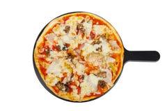 Пицца на белизне белой доски изолированной Стоковое Фото