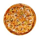 Пицца на изолированной предпосылке с грибами луком и огурцом стоковое изображение
