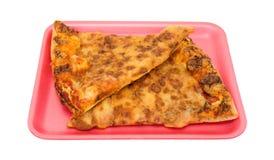 Пицца дня старая на розовом подносе пены Стоковые Изображения RF