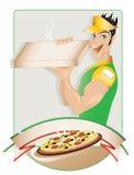 пицца поставки мальчика иллюстрация вектора