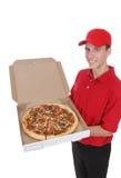 пицца работника доставляющего покупки на дом Стоковая Фотография RF
