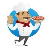 Пицца сервировки шеф-повара Стоковая Фотография