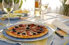 Пицца с камсами Стоковые Фото