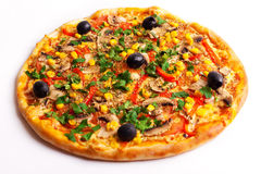 Пицца с оливками, мозолью и грибами Стоковое Изображение RF