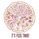 Пицца с различными кусками Сделанная эскиз к иллюстрация вектора бесплатная иллюстрация