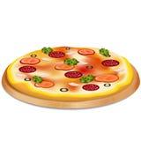 Пицца с сосиской, томатами и оливками иллюстрация штока