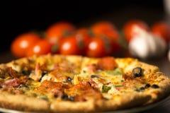 Пицца с томатами на предпосылке Стоковая Фотография