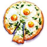 Пицца с яичками и морепродуктами Стоковая Фотография