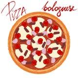 Пицца bolognese с рукописным титром бесплатная иллюстрация