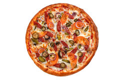 пицца pepperoni путя клиппирования изолированная изображением Итальянская пицца на белой предпосылке Стоковая Фотография RF