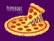 пицца pepperoni путя клиппирования изолированная изображением Стоковая Фотография