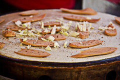 Пицца waffle сосиски Стоковое фото RF