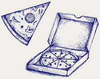 Пиццы. Стиль Doodle Стоковые Изображения RF