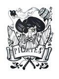 Пишите и чертеж чернил винтажный капитана пирата для татуировки или дизайна футболки иллюстрация вектора