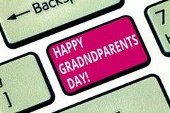 Пишущ показу примечания счастливым дедам день Национальный праздник фото дела showcasing, который нужно отпраздновать и удостоить стоковые изображения