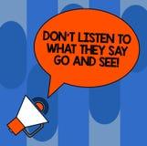 Пишущ показ Дон t примечания слушайте чего они говорят идут и видят Showcasing фото дела подтверждает законспектированное овально иллюстрация вектора