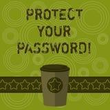 Пишущ показ примечания защитите ваш пароль Showcasing фото дела защищает информацию доступную через кофе компьютеров 3D для иллюстрация штока