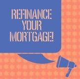 Пишущ показ примечания перефинансируйте вашу ипотеку Фото дела showcasing заменяющ существующую ипотеку на новый цвет займа стоковое изображение rf