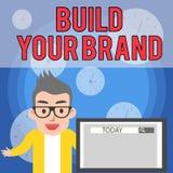 Пишущ показ примечания построьте ваш бренд Фото дела showcasing увеличивающ ценность бренда используя мужчину рекламных кампаний иллюстрация штока