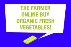 Пишущ примечание показывая фермера онлайн купите органические свежие овощи Еда приобретения фото дела showcasing здоровая иллюстрация вектора