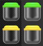 Пищевой контейнер прозрачной пластмассы или стеклянных с крышкой цве иллюстрация штока