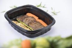 Пищевой контейнер с мясом Стоковое Изображение