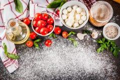 Пищевые ингредиенты итальянки пиццы макаронных изделий стоковое изображение