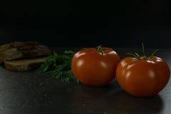 Пищевые ингредиенты предпосылки на черной таблице Свежие томаты и травы, домодельный хлеб Стоковая Фотография