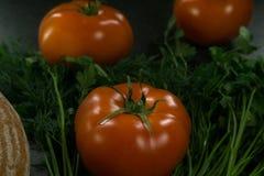 Пищевые ингредиенты предпосылки на черной таблице Свежие томаты и травы, домодельный хлеб Стоковые Изображения RF