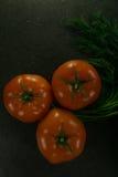 Пищевые ингредиенты предпосылки на черной таблице свежие томаты трав Стоковое фото RF