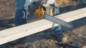 Пила sawing цепной пилы видеоматериал