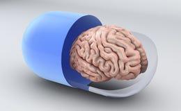 Пилюлька и мозг, пилюльки памяти бесплатная иллюстрация
