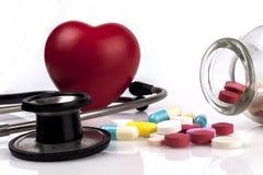 пилюльки сердца красные Стоковое Фото