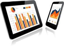 ПК и Smartphone таблетки с диаграммой статистик иллюстрация вектора