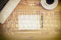 ПК на деревянном столе Стоковые Фотографии RF